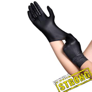 Γάντια μαύρα λάτεξ χωρίς πούδρα Pro gloves 20 τεμάχια