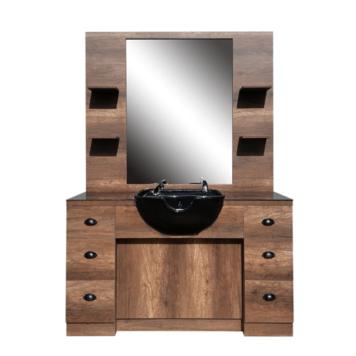 Λουτήρας μαύρος με καθρέφτη Hairway Barry